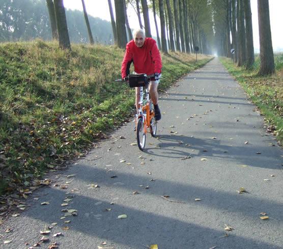 Riding on a travel Bike