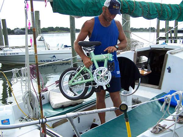 mini folding bike carried on the boat